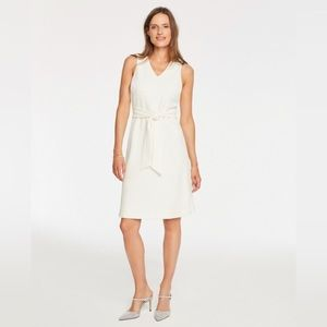 NWT Ann Taylor White V-Neck Tie Waist Shift Dress